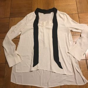 Zara cream and black tie blouse